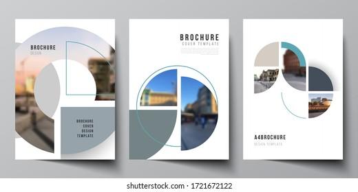 Vektorlayout der A4-Cover-Mockups Design-Vorlagen für Broschüren, Flyer-Layout, Broschüre, Cover-Design, Buch, Broschüre. Hintergrund mit kreisrunden Bannern. Vorlage für Unternehmenskonzepte.