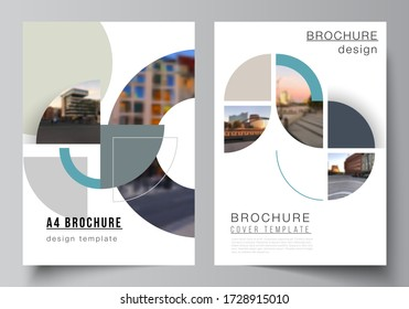 Vector layout of A4 cover mockups design templates for brochure, flyer layout, booklet, cover design, book, brochure cover. Background with circle round banners. Corporate business concept template