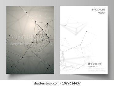 The vector layout of A4 format cover mockups design templates for brochure, flyer, report. Technology, science, medical concept. Molecule structure, connecting lines and dots. Futuristic background
