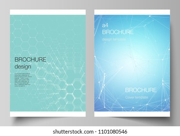 The vector layout of A4 format cover mockups design templates for brochure, flyer, report. Technology, science, medical concept. Molecule structure, connecting lines and dots. Futuristic background.