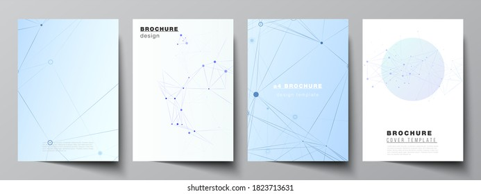 Vector layout of A4 format cover mockups templates for brochure, flyer layout, booklet, cover design, book design, brochure cover. Blue medical background with connecting lines and dots, plexus