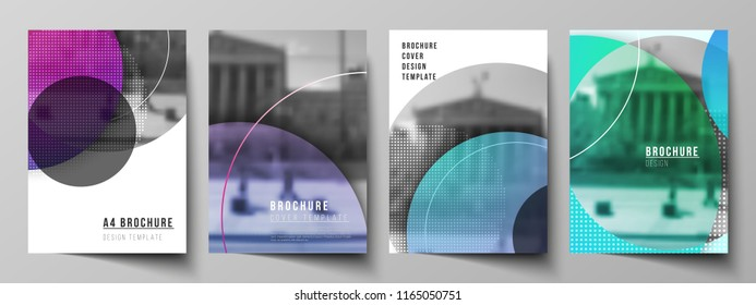 The vector layout of A4 format modern cover mockups design templates for brochure, magazine, flyer, booklet, annual report. Creative modern bright background with colorful circles and round shapes