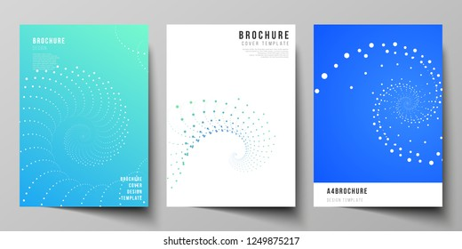 The vector layout of A4 format modern cover mockups design templates for brochure, magazine, flyer, booklet, annual report. Geometric technology background. Abstract monochrome vortex trail.