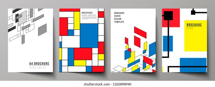 The vector layout of A4 format modern cover mockups design templates for brochure, flyer, booklet, annual report. Abstract polygonal background, colorful mosaic pattern, retro bauhaus de stijl design.