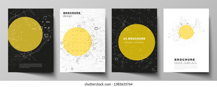 Vector layout of A4 format modern cover mockups design templates for brochure, magazine, flyer, report. Science or technology 3d background with dynamic particles. Chemistry and science concept.