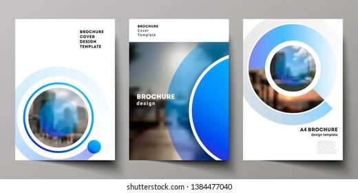 Die Vektorgrafik moderner Cover-Mockups im A4-Format für Broschüren, Magazine, Flyer, Broschüren, Geschäftsberichte. Kreativer, moderner, blauer Hintergrund mit Kreise und runden Formen.