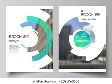 Vector layout of A4 format modern cover mockups design templates for brochure, magazine, flyer, booklet, report. Futuristic design circular pattern, circle elements forming geometric frame for photo