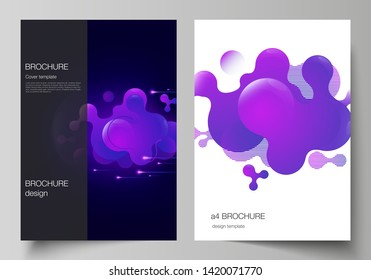 The vector layout of A4 format modern cover mockups design templates for brochure, magazine, flyer, booklet, annual report. Black background with fluid gradient, liquid blue colored geometric element.