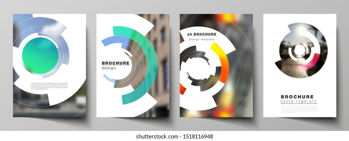 Vector layout of A4 format modern cover mockups design templates for brochure, magazine, flyer, booklet, report. Futuristic design circular pattern, circle elements forming geometric frame for photo.