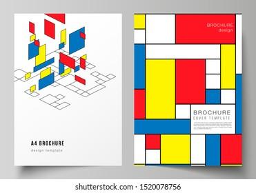 Die Vektorgrafik moderner Cover-Mockups im A4-Format für Broschüren, Flyer, Broschüren, Geschäftsberichte. Abstrakter polygonaler Hintergrund, bunter Mosaikmuster, Retro Bauhaus de stijl Design.