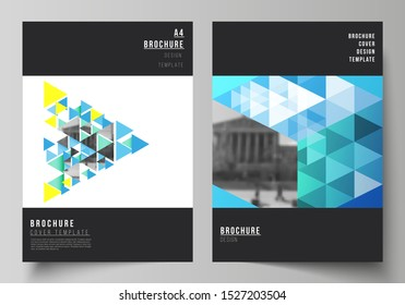 The vector layout of A4 format modern cover mockups design templates for brochure, magazine, flyer, booklet, annual report. Blue color polygonal background with triangles, colorful mosaic pattern.