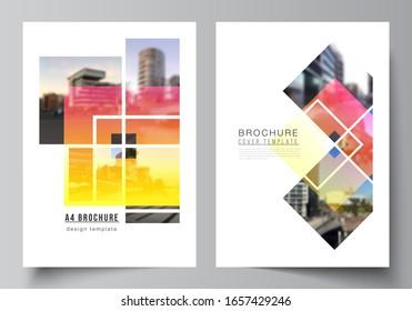 Die Vektorillustration-Layout des A4-Formats moderne Cover-Mockups Design Vorlagen für Broschüren, Zeitschriften, Flyer, Broschüren, Geschäftsbericht. Kreative Mockups im trendigen Stil, blauer, trendiger Designhintergrund.