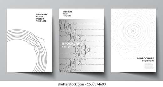 The vector layout of A4 format modern cover mockups design templates for brochure, magazine, flyer, booklet. Trendy modern science or technology background with dynamic particles. Cyberspace grid.