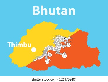 Vector layout of Bhutan territory and flag