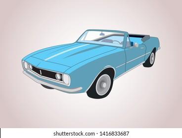 vector layout of blue retro car. Chevrolet Camaro 1966.