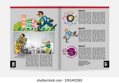 Vector layout brochures, flyers, presentations for business with cartoon characters