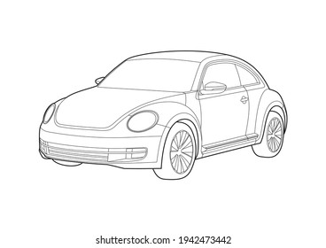 vector layout of a compact car outline drawing. Volkswagen Beetle.