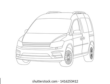 vector layout of the contour drawing of the car. Volkswagen Caddy.