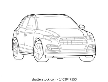 vector layout contour drawing of a compact SUV. Audi Q5.