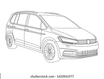 vector layout of contour drawing of compact van. Volkswagen Touran 2nd generation.