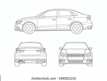 vector layout of contour drawing of German sedan. Audi A3.
