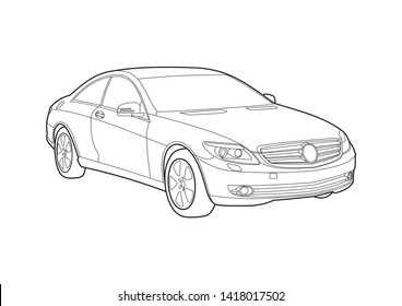 vector layout of contour drawing of German coupe. Mercedes coupe.