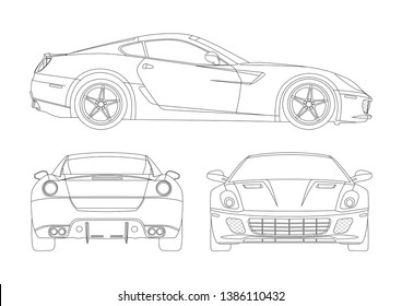 vector layout of contour drawing of Italian super car. Supercar Ferrari 599 GTB Fiorano.