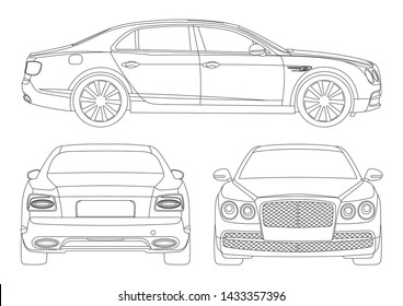 vector layout of contour drawing of luxury sedan. Bentley Flying Spur.