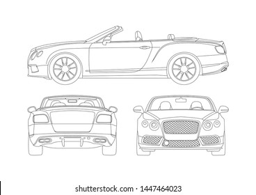 vector layout contour drawing luxury convertible. View from three sides. Bentley Continental GT.