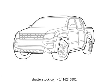 vector layout of the contour drawing of the pickup. Amarok Volkswagen.