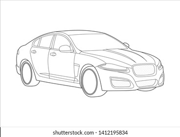 vector layout of contour drawing of sedan. Jaguar XFR in the 1st generation.