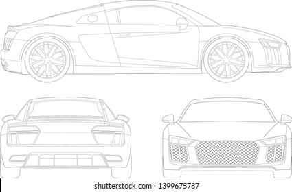 vector layout of contour drawing of a sports car. Audi R8.