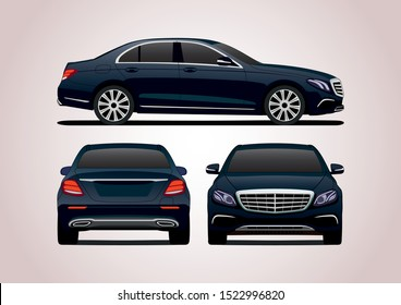 vector layout of dark blue sedan, view from three sides. Mercedes-Benz E-Class W213.