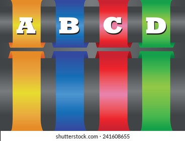 Vector layout design of four thick colorful bands with copy space wrapped around horizontal bar.