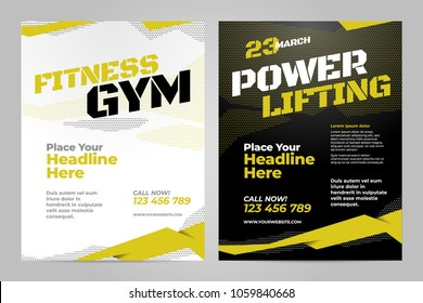 Vector layout design template for fitness center, powerlifting or other sport event.