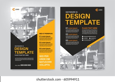 Vector layout design template for Leaflet / Poster / Flyer / Pamphlet / Brochure with photo sample and orange - black color scheme, template in A4 size