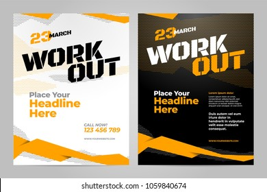 Vector layout design template for workout or other sport event.