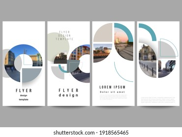 Vector layout of flyer, banner design templates for website advertising design, vertical flyer, website decoration. Background with abstract circle round banners. Corporate business concept template.