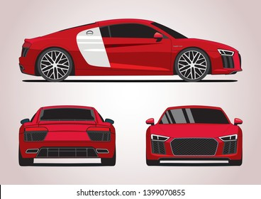 vector layout of the German red sports car. Audi R8.