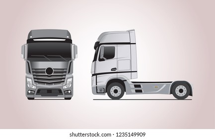 vector layout of gray truck in from different sides. Mercedes Actros truck.