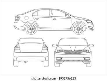 vector layout of the liftback contour drawing. Skoda Rapid .