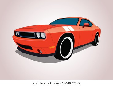 vector layout of muscle car. Dodge Challenger.