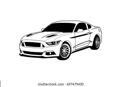 Vector layout a muscle car. Ford Mustang