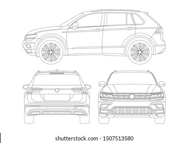 vector layout outline drawings compact crossover. Volkswagen Tiguan.