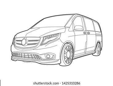 vector layout outline drawings of the van. 3rd generation Mercedes-Benz V-Class.