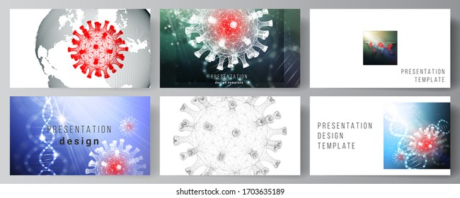 Vektorillustration Layout der Präsentationsfolien Design Business Templates, multifunktionale Vorlage für Präsentationsbericht. 3D medizinischer Hintergrund des Corona-Virus. Covid 19, Coronavirus-Infektion. Viruskonzept