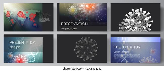 Vector layout of the presentation slides design business templates, multipurpose template for presentation report. 3d medical background of corona virus. Covid 19, coronavirus infection. Virus concept