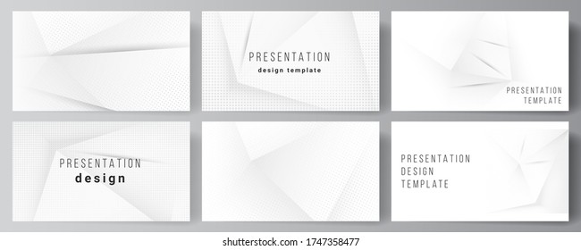 Vector layout of the presentation slides design templates, multipurpose template for presentation brochure, brochure cover. Halftone dotted background with gray dots, abstract gradient background
