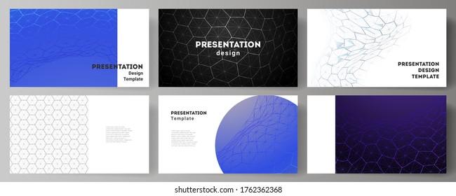 Vektorlayout der Präsentationsfolien Design Business Templates. Digitale Technologie und Big-Data-Konzept mit Hexagonen, Verbindungspunkte und Linien, polygonaler wissenschaftlicher medizinischer Hintergrund.