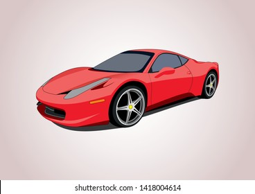 vector layout of a red sports car. Ferrari 458.